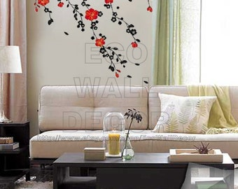 PEEL And STICK Removable Vinyl Wall Sticker Mural Decal Art   Red Blossom  In The Wind