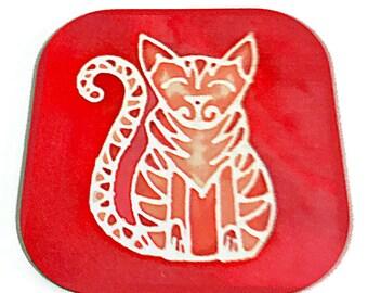 Ginger Cat Drinks Coaster - Tabby Cat Mug Coaster - Cat Lover Christmas Gift - Marmalade Cat Wine Glass Coaster - Red & Orange Tableware