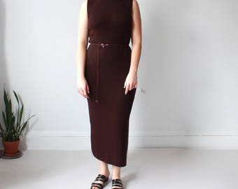 plus size vintage knit dress | brown turtleneck sleeveless dress, XL