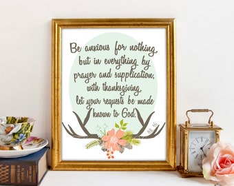 Be Anxious For Nothing, Bible Verse Print, Scripture Print, Instant Download, Fall Print, 8 x 10 Digital Print, Phil 4:6, Antlers Boho Print