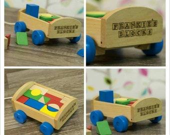 Personalised Pull Along Building Block Cart - 00040