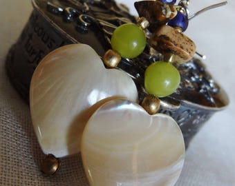 Earrings heart mother of Pearl and peridot - holidays gift idea