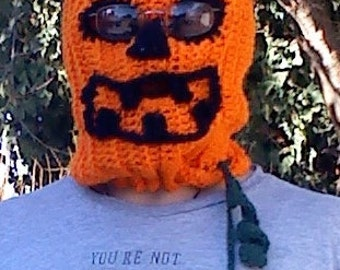 Pumpkin Head teen adult mask hand crocheted