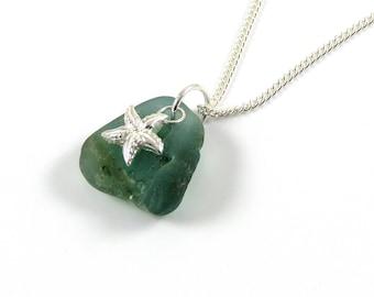 Bonfire mer verre collier en argent Sterling, verre de feu de joie, argent étoile de mer, la ligne de rivage, collier en vert Jade