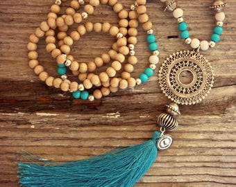 Tassel Necklace, Wood Bead Necklace, Long Necklace, Beaded Necklace, Turquoise Tassel, Bohemian Necklace, Boho Necklace, Turquoise Necklace