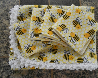 Baby Shower Gift Receiving Blanket and 4 Washcloths, Bumble Bee Set, Crochet Edge Baby Blanket, Gender Neutral Baby Set