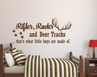 Perfect Rifles Racks And Deer Tracks Wall Decal Quote  Baby Boy Nursery Wall Decal  Kids Room