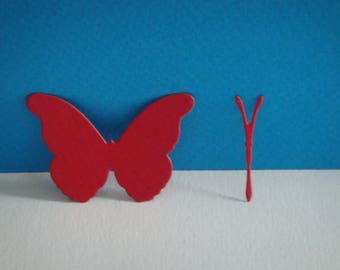 Cut paper Butterfly red design for scrapbooking and card making