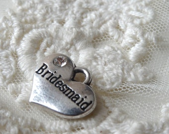 4- Bridesmaids Heart Pendant Gift Silver Rhinestone Double Sided Wedding Day Keepsake Charms  BuyDiy Jewelry Supplies Inv0165