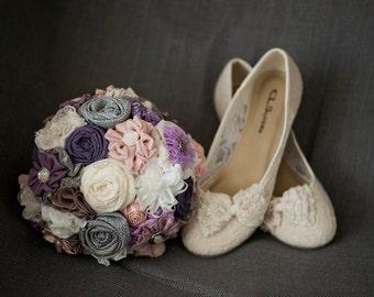 Purple bridal bouquet custom wedding bouquet fabric flower bouquet bridal bouquet lavender bouquet keepsake bouquet wedding accessories