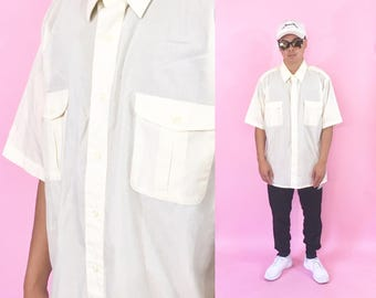 Christian Dior vintage cream colored shirt summer size xl oversized 1990s 1980s 90s 80s