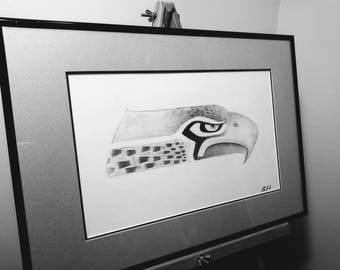 Seattle Sea hawks Drawing Print