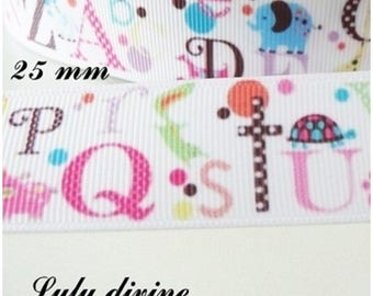 White grosgrain Ribbon with the letters alphabet multicolor 25 mm sold by 50 cm