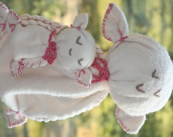 organic Cotton Lamb baby Lovey, mom and baby stuffed animals, stuffed toy made from organic cotton and wool