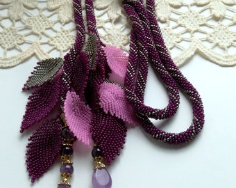 Tie Necklace, Purple Necklace, Beaded Lariat, Long Lariat Rope Necklace, Crochet Lariat, Unique Necklace, Beadwork Necklace