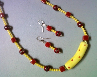 Red and Yellow Polka Dot Necklace and Earrings (0234)
