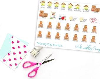Moving Day Planner Stickers for Erin Condren, Plum Planner, Inkwell Press, Filofax, Kikki K or Any Size Planners