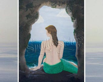Mermaid Little Mermaid 8x10 portrait print of an acrylic painting