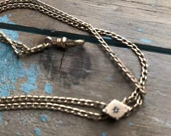 Beautiful Antique Victorian Pocket watch diamond chip slide chain necklace by Nouveau Bella