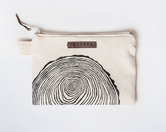 Wood Slice Zipper Jewelry Pouch, Pencil Case, Purse, Cosmetic bag with handmade print