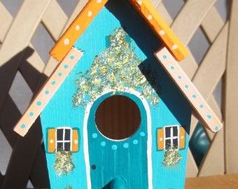 Medium Turquoise Birdhouse #280