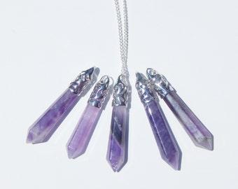 Amethyst Crystal Necklace, Crystal Necklace, Amethyst Crystal Pendant, Amethyst Necklace, Amethyst Crystal Point, Amethyst Pendulum, Crystal