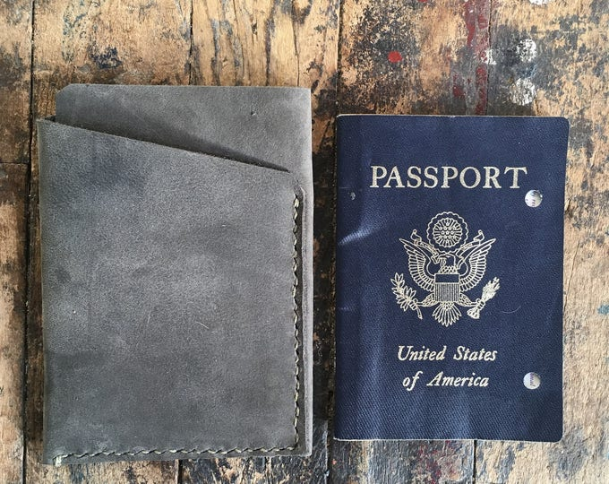 two pocket passport case in slate