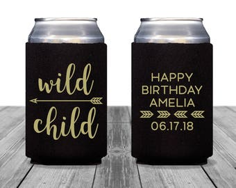 Neoprene Can Coolers, Personalized Coolies, Wedding Coolies, Bachelorette Party, Custom Hugger, Birthday Can Coolers, Wild Child, 1357