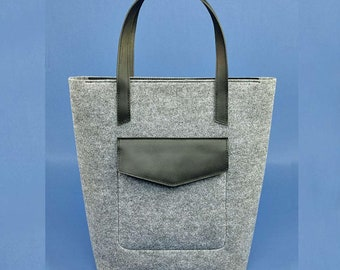 leather bag, laptop bag, leather purse, laptop bag women, Wool Felt TOTE BAG, grey tote bag, womens bag, felt shoulder bag, purse, totes