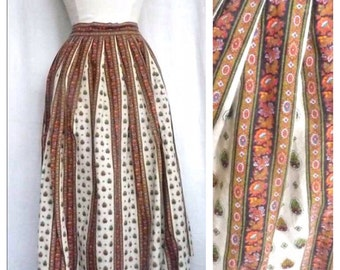 Provencal Fabulous Stripes and Paisley 1970 s French Vintage Skirt