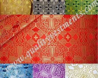 "Liturgical Vestments Brocade Nonmetallic ""Byzantium cross"" width is 59'' (150cm) Minimum 5m order please"