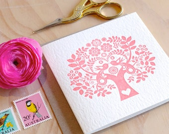 Scandinavian, Valentine, Mother's Day 's Day card Spring, Letterpress Card Scandinavian Folk Style rose pink blush Tree of Life. Made in Aus