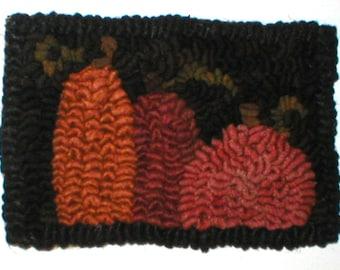 PrimiTive Folkart 3 Mini Hooked Rug Pumpkins PDF PATTERN  Beaconhillcollect Hooked Rugs