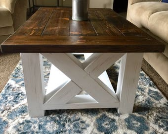 Custom Rustic Farmhouse Coffee Table, Distressed Country Table, Living Room  Table, Cottage Decor