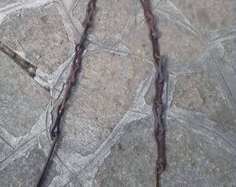 Antique Chain - Hand Forged Chain - Home decor - Old Chain for Butcher - Primitive Hanger - Wall Chain - Fireplace Chain - Distressed Chain