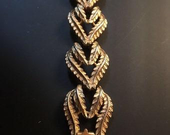 Vintage Gold Tone Leaf Bracelet