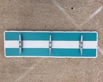 Pool towel hooks, Patio hooks, Cleat Rack, Nautical Cleat Rack, Coastal Wall Hook Rack, Dock Cleat Rack, Coastal Decor
