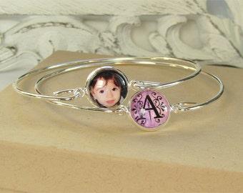 Photo Bracelet - Set Of Two Custom Bangles - Personalized Stacking Bracelet