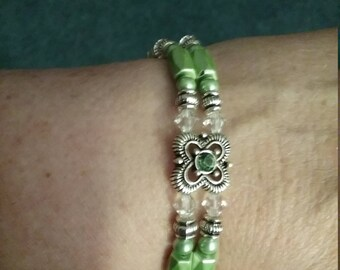 Green and silver magnetic bracelet