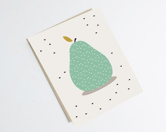 "Postcard ""PEAR"" - original print - illustration pear with black triangles - kitchen - deco"