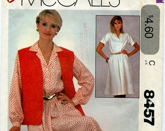 Vintage Mccalls 8457 Women's Button Front Shirt Dress UNCUT Sewing Pattern Sizes 10 12 14 Bust 33 35 37 Long or Short Sleeve with Vest