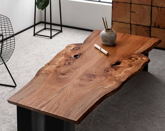 Vivente Coffee table - Natural live edge Elm or Oak coffee table on steel