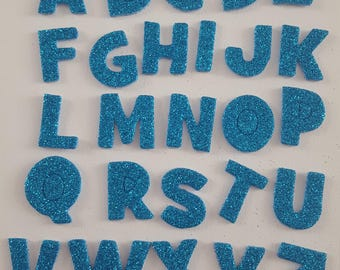 26pc Die Cut Alphabet Letters Blue Glitter Foam Stickers For Scrapbooking Collage Art Journaling, Crafting, Decoupage, Kids Crafts