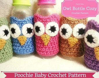 PATTERN - Crochet Owl Baby Bottle Cozy