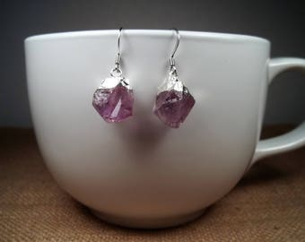 Silver Raw Amethyst Gemstone Bohemian Statement Dangle Earrings