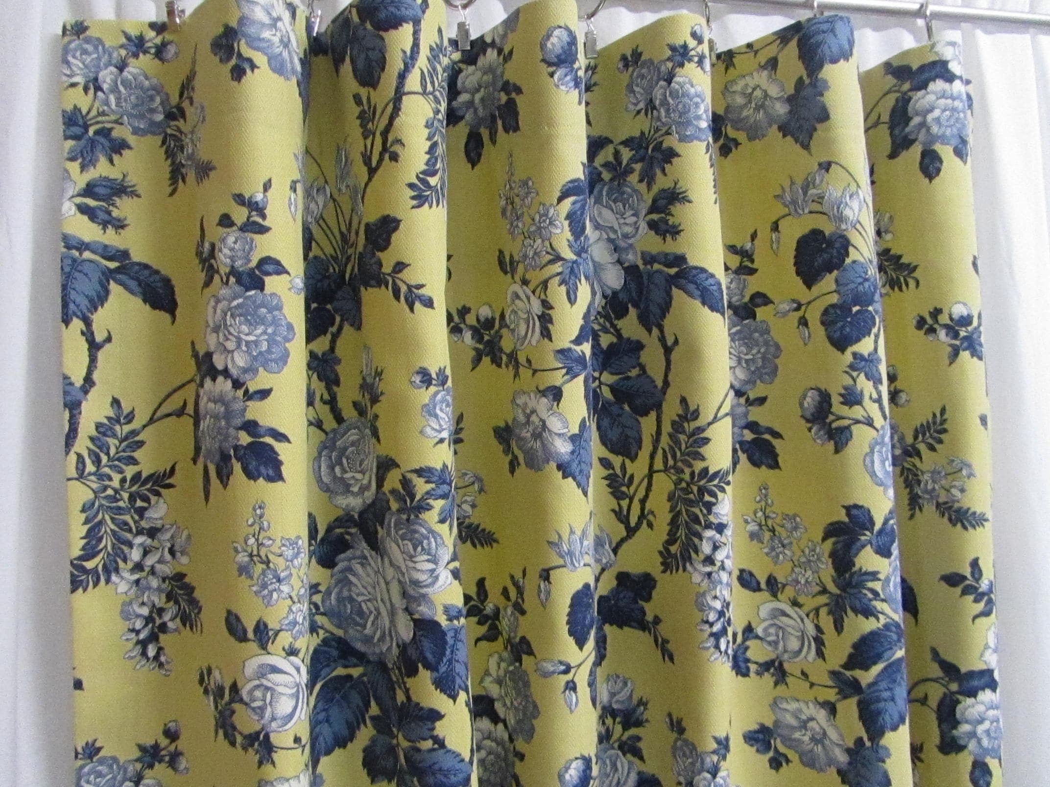French Country Curtains Blue Yellow Floral Drapes