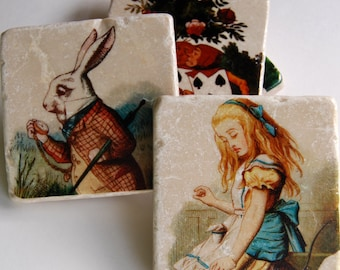 As Seen on HGTV - Alice in Wonderland stone coasters