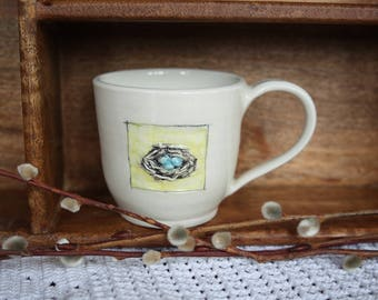 Handmade Pottery Bird's Nest Mug