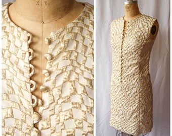 Vintage 1960's Dress | Chequered Past | 60's Mini Shift Dress Ivory and Metallic Gold Swirly Checkered Pattern Covered Button Front MOD Sz S