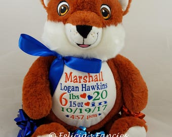 Signature Fox Personalized Stuffed Animal, Personalized Baby Gift, Embroidered with Birth Announcement by Felicia's Fancies Baby Boutique